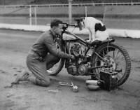 OLD PHOTO British Speedway Rider Frank Charles Tunes His Bike Circa 1935