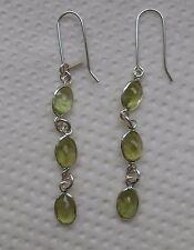 Hallmark Sterling Silver Sri Lankan Green Peridot Dangle Earrings (E20/8) (NEW)