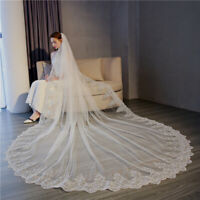 New white lvory veil 3*3M Lace Bridal Wedding Veil velo de novia Long 1T +Comb