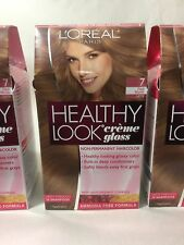 3 X L'Oreal Healthy Look Creme Gloss Hair Color Dark Blonde,Latte #7 NEW