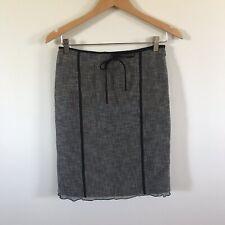 Max Mara Gray Crosshatch Pencil Straight Skirt Career Linen Blend Italy Womens S