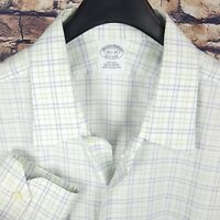 BROOKS BROTHERS Mens White Check Dress Shirt 16.5-34 Non-Iron Supima