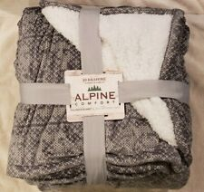 NEW BERKSHIRE ALPINE COMFORT BLANKET QUEEN SOFT GRAY WHITE PLUSH SHERPA LODGE
