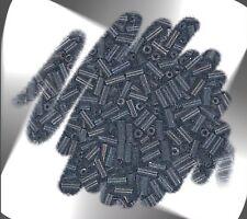 1 Hank GUN METAL BLACK 4mm Glass Bugle Seed Beads N2079