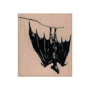 Mounted Rubber Stamp, Hanging Bat, Vampire, Halloween, Bat, Flying Bat, Scary