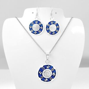 Artisan Aztec Calendar Blue Opal Pendant and Earring Setfrom Taxco Mexico