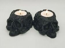 BLACK  Ornamental Skull Tealight Goth Halloween Candle Tea Light Holder Gift