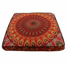 """Indian Red Peacock Mandala Square Cushion Cover 35"""" Floor Pillow Case Decor Gift"""