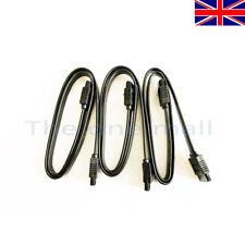3x 50cm SATA 3 6GB High Quality Locking Black Serial ATA SSD HDD Data Cable Lead