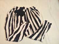 Wet Seal Women's size Large L Stretch Pants Beetle Juice Black White Striped