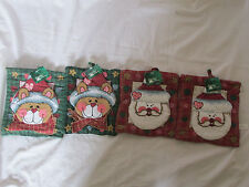 New Trim A Home Lot of 2 Matching Christmas Pot Holders Cat/Kitten/Santa Claus