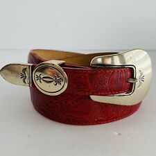 Vtg Justin Red Hand Tooled Leather Belt Silver Metal Western Buckle Unisex Sz 28