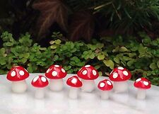 Miniature Dollhouse FAIRY GARDEN Accessories ~ 8 TINY Red & White Mushrooms NEW