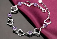 925 Sterling Silver Swarovski Element Crystal Amethyst LoveHeart Bracelet Chain