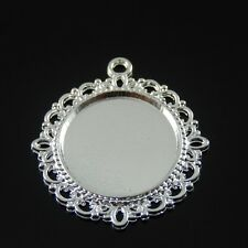 10 pcs Round Silver Lace Cameo Setting inner 20mm Cabochon Tray Pendant 30937