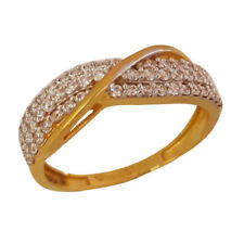 22Kt Solid Yellow Gold Engagement Band Finger Ring Cubic Zirconia CZ Jewelry