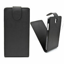 Black Flip Leather Mobile Phone Skin Cover Hard Pouch Case For HTC Desire 610