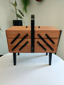 Vintage Accordion Style 3 Tier Wooden Sewing Box Storage Basket Dovetail