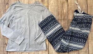 Lands End Two Piece Pajama Set Blue Flannel Pants Plaid S/P