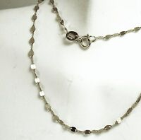 14k solid white gold 24 inches long mirror link beautiful very sparkly chain