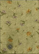 """Pretty Lacy Tossed Floral Print rust gold green periwinkle on tan Fabric - 33"""""""