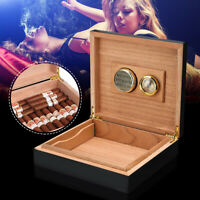 Black Cedar Wood Lined Cigar Storage Case Box + Humidor Humidifier  USA D