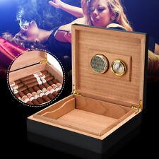 Black Cedar Wood Lined Cigar Storage Case Box + Humidor Humidifier  New