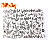 100 Pcs Wholesale Bulk Lots Tibetan Silver Plated Mixed Pendants Charms DIY NEW