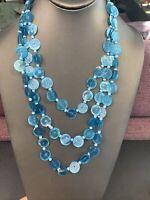 """Blue Capezio shell multi 3 strand BoHo pendant necklace 24"""" inches  shell"""