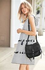 NEW NEXT 12 petite ladies black white stripe hood pom tassel sleeveless dress