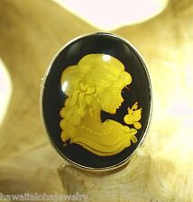Silver Genuine Baltic Sea Honey Amber Intaglio Cameo Lady Brooch Pin Pendant #8