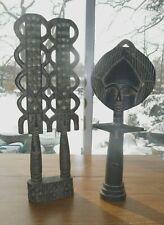 Pair of Antique African Carved Wood Folk Art Sculptures Tribal Decor