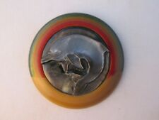 Vegetable Ivory Studio Button, MOP dolphin with textured Rainbow colors