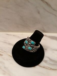 CAROLYN POLLACK Sterling Silver Sleeping Beauty Turquoise Bypass Ring - Size 8