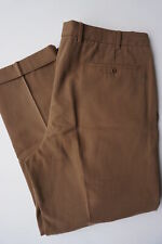 INCOTEX 95% Cotton 5% Cashmere Pants 35W/28L (Tag 36W) Caramel Brown Pleated