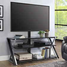 """Flat Screen TV Stand 70"""" Metal Glass 3 in 1 Entertainment Center Media Console"""