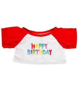 """Happy Birthday T-Shirt w/ Red Teddy Bear Clothes Fits Most 14""""-18"""" Build-a-bear"""