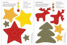 Bastelset Prickeln Weihnachts-Mobiles Sterne, Elche, Tanne Prickfilz Pricknadel