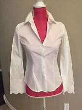 City DKNY White Fitted Blouse Top Size 2