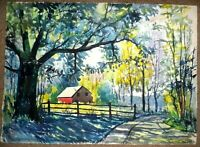 ORIGINAL WATERCOLOR PAINTING OF HOUSE AND TREE LANDSCAPE