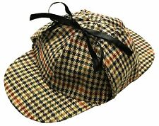 Mens Deerstalker Sherlock Holmes Cap Classic Herringbone Tweed Wool 6 Panel Hat