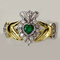 Natural Heart Shape Emerald & Diamond Claddagh Ring 14k Two-tone Gold