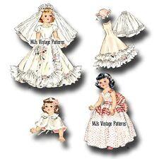 "Vintage Pattern ~ 19"" Toni 18"" Revlon Doll Bridal Wedding Dress Veil Formal Gown"