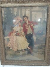 """1970s French Watercolor Art Poster Lithograph Large Framed. Send Offer  23x 28 """""""