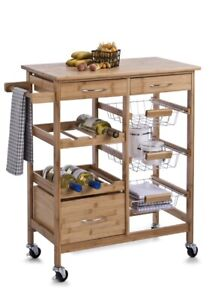 Kitchen Bamboo Island/storage Trolly Wagon With Wheels Great For Bbq