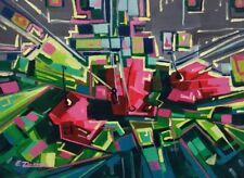 Cubist, Abstract, Original acrylic painting, Contemporary art, Enrique Zaldivar