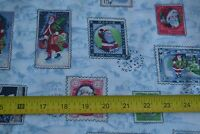By 1/2 Yd, Christmas Stamps on Blue & White Quilting Cotton, Concord, N1383