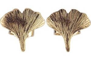 Ginkgo Ginko Blatt 8 K 333 Gelb Gold Damen Ohrringe Ohrstecker!