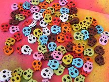 100 SKULL Beads Mixed Colors Halloween Skeleton Head Jewelry Kid Crafts 8 Colors