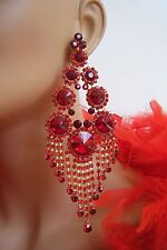 """CLIP ON RED CHANDELIER RHINESTONE EARRINGS PAGEANT STAGE SET DRAG QUEEN 5.5"""" L"""